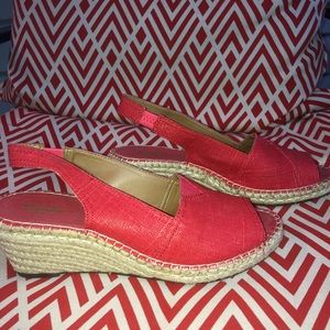 Clark's Coral Glitter Wedges Size 10 Short Wedges
